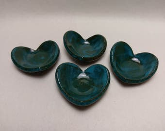 4pc. TRAY Set - Turquoise - Hand Made Ceramic