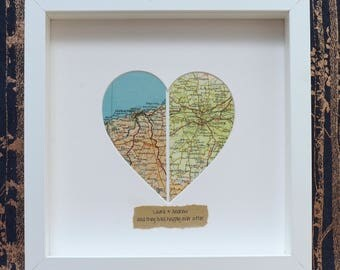 Personalised Original Vintage Split/Two Locations Heart Map Picture