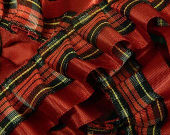 "Wrights - Box Pleat Trim - Scarlet with Plaid  - 7/8"" Wide - By the Yard"