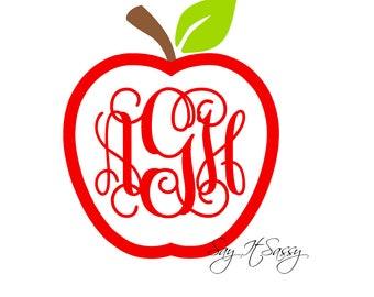 Apple Monogram Decal, Apple Vinyl Monogram Decal, Laptop Decal, Car Monogram Decal, Cell Phone Decal, Teacher Decal, Teacher Monogram