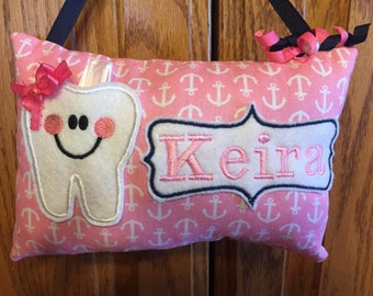 Pink anchor personalized tooth fairy pillow
