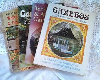 Vintage Gardening Collection Books Gazebos, Terraniums, Garden Pools, Walks and Patio Floors