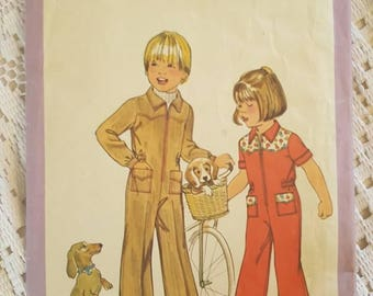 Vintage Retro 70s Childis Jumsuit Sewing Pattern Simplicity 8283 Size 4 Cut Counted Complete
