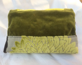 Green velvet zippered make up bag/pouch flat bottom one off unique