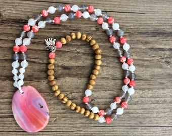 Beautiful Coral Mala  - Buddhist Beads - Buddha Necklace - Bead Necklace - Boho Necklace, 108 bead Mala