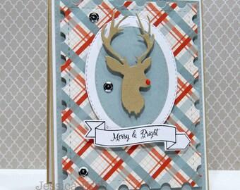 Merry & Bright~ Handmade Christmas Card ~ Holiday Card ~Reindeer Card