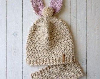 Bunny Slouchy Hat and Cowl, Bunny Pompom Hat and Cowl, Children Slouchy Hat, MADE TO ORDER