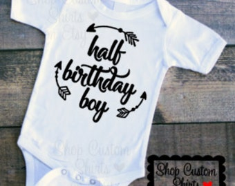 Half Birthday Boy, Arrows, Baby Boy, 1/2 Birthday Outfit