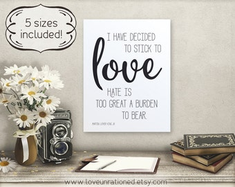 MLK quote, Stick to love quote, MLK print, social justice, social justice quote, social justice print, civil rights, social justice art