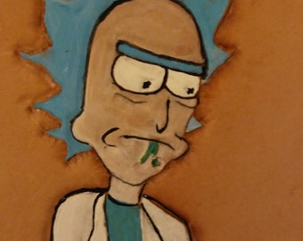 "Handtooled leather ""Rick and Morty"" Patch"