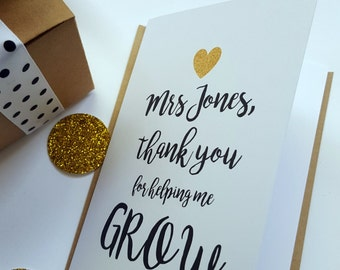 Teacher Appreciation Card/ Thank you for helping me grow card