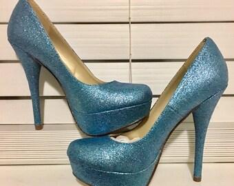 SOMETHING BLUE glitter high heels
