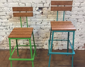 Bar stools, Steel and wood, Bar stool with Back