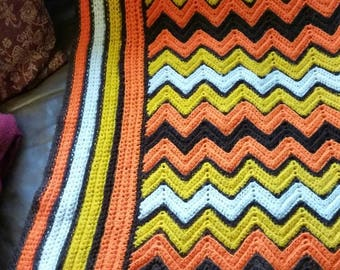 Vintage multicolored zig zag Chevron crotchet afghan throw blanket.