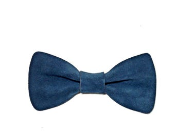 Blue Suede Bow Tie - Leather Bow Tie - Leather Bowtie - Papillon - Blue Bowtie - Women Bow Tie - Suede Bow Tie - Mens Bowtie - Mens Bowties