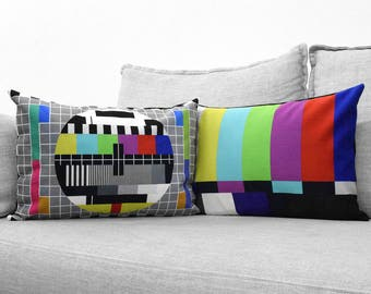 "PM5544 and SMPTE color bars - set of 2 - 14"" x 20"" velveteen pillow case - television test pattern"