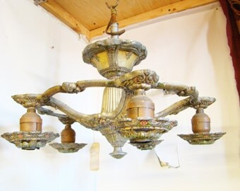 1 Chandelier Vintage 1920s to 1930s  5 Down Lite