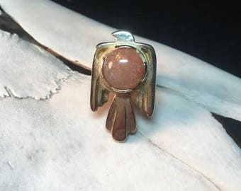 THUNDERBIRD RING - brass and sunstone size 7 1/2
