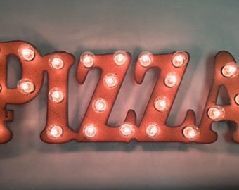 Pizza  marquee lighted sign