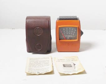 General Electric Triple Range 214 Light Meter With Manual and Vinyl Case Vintage Retro Camera Accessories