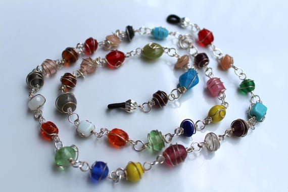 Multicolor Bead Eyeglass Chain, Wire Wrapped Stones, Unique Chain for Eyeglasses, Sunglasses Glasses Holder, Boho Necklace for Glasses