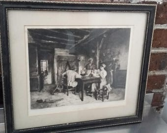 Vintage Print 'Supper Time'Etching by CH Courtry. Black and Gilt Frame 36 x 31 cm