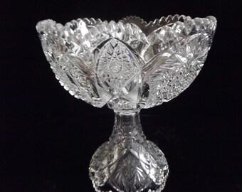 Large crystal compote, pedestal bowl, item # 58