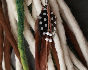 Brown dread feather, dreadlock feather, boho dread jewellery, feather on bead, Beaded suede tassels, guinea fowl feather, detachable feather
