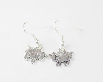 Sheep Earrings, Little Girl Jewelry, Back to School Gift, Silver Sheep Earrings, Lamb Earrings, Farm Animal Earrings, Sheep Jewelry