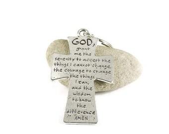Serenity Prayer Key Chain Silver Metal Key Ring
