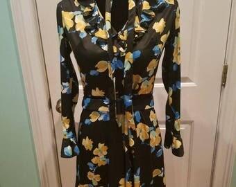 Vintage 60's Floral Ruffle Mini Dress