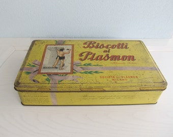 METAL TIN Cookies BOX Kitchen Storage Biscuit Container Recipe Box Kitchen Storage 1970s