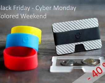 Black Friday, Cyber Monday - silver carbon fiber Wallet, discount