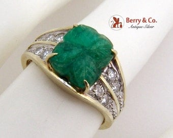 Carved Emerald Four Leaf Diamond Ring 14K Yellow Gold