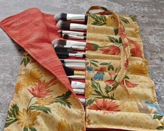 Makeup Brush Roll - Brush Roll - Makeup Brush Holder - Brush Holder - Makeup Artist Case - Travel Bag - Crochet Hook Case - Makeup Organizer