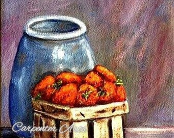 Strawberries Cream-Original Canvas Painting