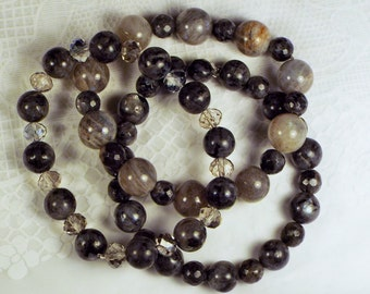 "Cynthia Lynn ""LUMINOUS"" Grey Labradorite and Larkivite Beaded Stacking Stretch Bracelet Set"