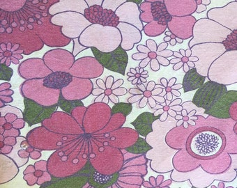 Vintage  purple pink green FLOWER print pure cotton sheet
