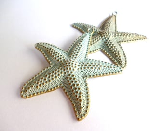 Brass Patina Aged Lage Charm Pendant_PP65/035658865_ Patina Starfish of 62x67 mm _ pack 2 pcs