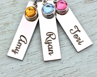 Laser engraved Personalized Birthstone Bars necklace, customized, names, necklace