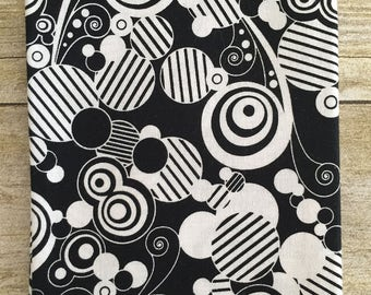 Black and White Abstract Circles Fabric--Fat Quarter