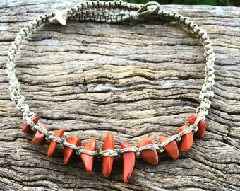 Handmade Hemp Macrame Necklace with Red Jasper Semi Precious Stone Beads