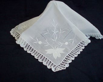 Vintage White Embroidered Handkerchief with Crochet Lace Edge Lace Wedding Hankie