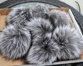 "5-8,5"" LARGE SILVER FOX Pom Poms! Double Silver Fox Pom Pom, Fur Pom-Pom, Large Pom Pom, Child, Silver Fox Fur, Knit Hat, Chunky HatFur Ball"