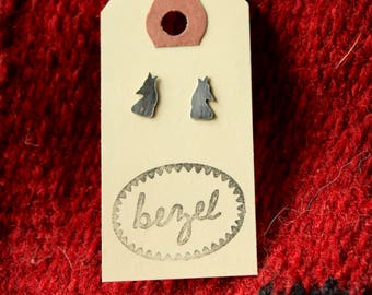 Oxidized Sterling Silver Howling Wolf Silhouette Stud Post Earrings