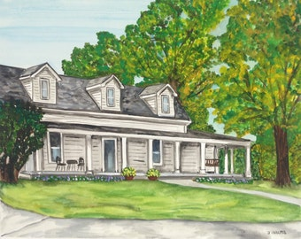 Custom housewarming gift.  Watercolor house painting 16x20. House portrait, pet portrait, anniversary gift,  add a pet! Birthday, Christmas