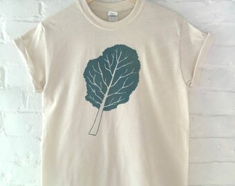 Kale T-Shirt, Food Shirt, Vegetable Shirt, Screen Printed T Shirt,