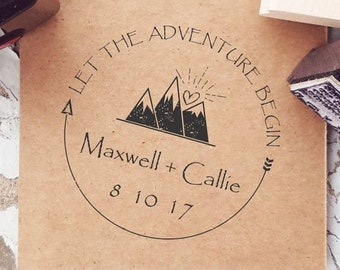 Mountain Stamps, Mountain Wedding, Outdoor Stamp, Adventure Wedding, Custom Mountain Stamp, Wonderlust, Outdoor Rustic Wedding   CS-10271