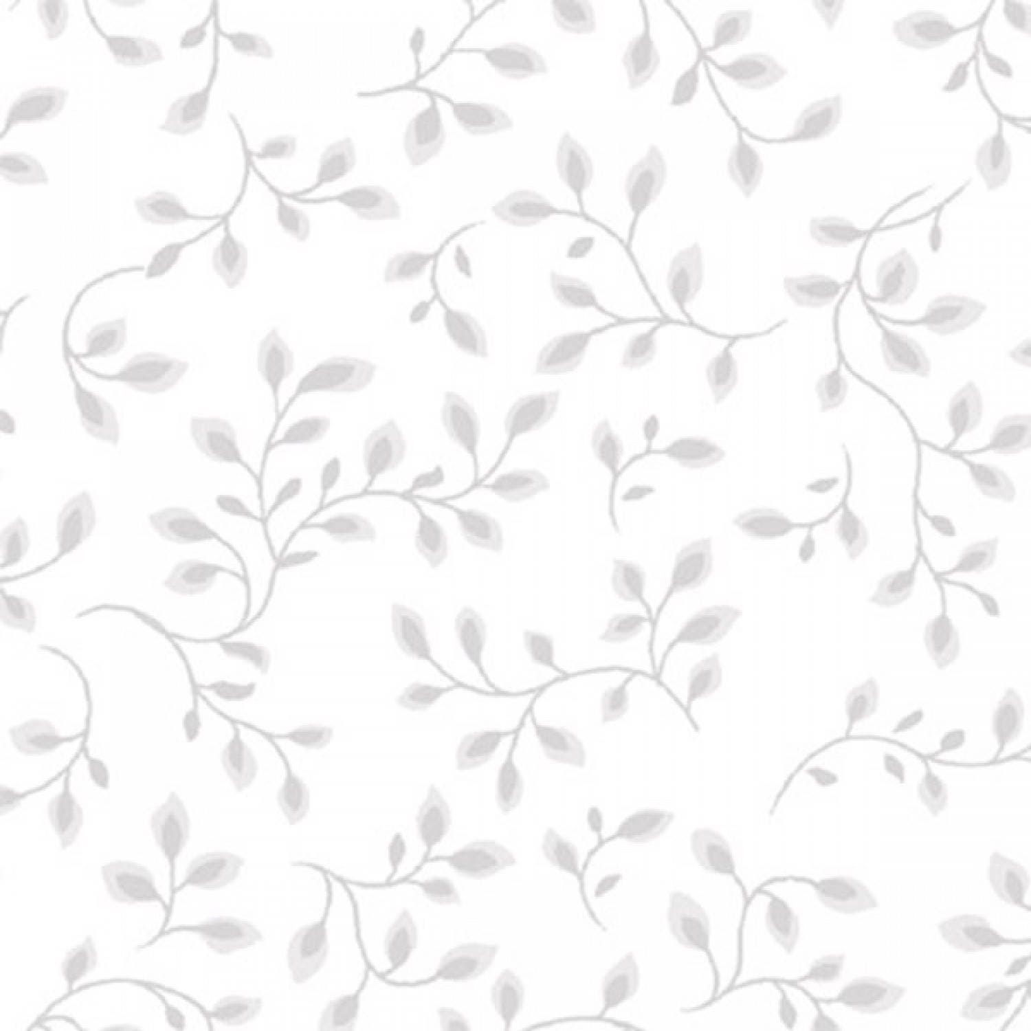 108 Inch White And Grey Vines Leaves Half Yard Wide
