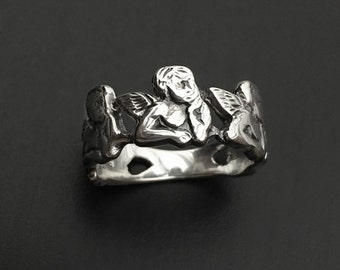925 Solid Sterling Silver ANGEL Ring-Silver Tree Angel Ring-Baby Angel Ring-Oxidized